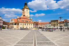 BRASOV, TRANSYLVANIA, ROMANIA. The old city center called Piata. Sfatului. Important tourist attraction. One of the best cities in Transylvania stock photography