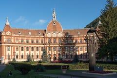 BRASOV, TRANSYLVANIA/ROMANIA - SEPTEMBER 20 : View of the Prefecture building in Brasov Transylvania Romania on September. 20, 2018. Two unidentified people royalty free stock photos