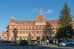 BRASOV, TRANSYLVANIA/ROMANIA - SEPTEMBER 20 : View of the Prefecture building in Brasov Transylvania Romania on September. 20, 2018. Unidentified people royalty free stock images