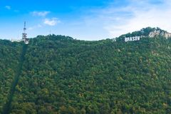 Brasov, Transylvania Rumunia, Wrzesień, - 22 2016: Brasov logo dalej Obrazy Stock
