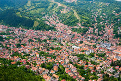 Brasov upperview - oude stad Stock Afbeelding