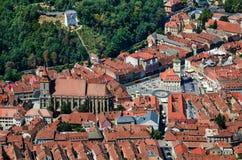 Brasov upperview, Rumänien landmark arkivfoto