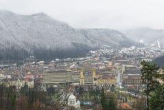 Brasov, vecchia città nell'inverno Immagini Stock Libere da Diritti