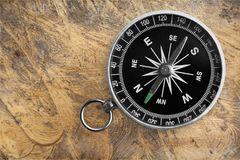 Brass antique compass  on background. Antique brass compass background object decorative equipment Stock Photo