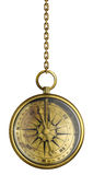 Brass antique compass on chain isolated Royalty Free Stock Images