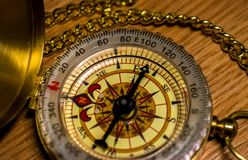 Brass antique compass showing east. Isolared item, brass compass showing east, antique, closeup, numbers, nautical stock photo