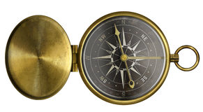 Brass antique pocket compass with lid and black scale isolated. On white Stock Photography