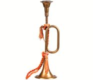 Brass antique replica Bugle, isolated. Stock Photo