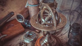 Brass Armillary Zodiac Sign Globe stock photos