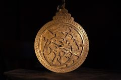 Brass astrolabe for display royalty free stock photography