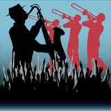 Brass Background. Background illustration with brass musicians and a cheering crowd vector illustration