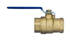 Brass ball valve isolated on white background Stock Photo