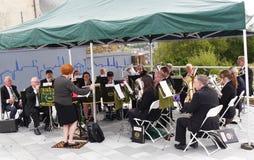 Brass band al festival del canale di Leeds Liverpool a Burnley Lancashire Fotografie Stock Libere da Diritti