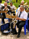 Brass band. BUDYONNOVSK, STAVROPOL REGION, RUSSIA - MAY 1, 2014: municipal brass band on the Labor Day celebration, on 1st of May 2014, in Budyonnovsk, Russia Stock Image