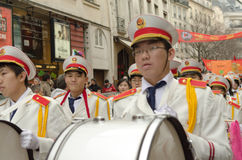 Brass band during chinese new year 2014 in Paris Royalty Free Stock Photo