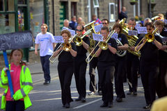 Brass Band Contest. Band marching at the Saddleworth Brass Band Contest on the 28th of May, 2010 Royalty Free Stock Image
