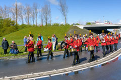 Brass band on flower parade Stock Images