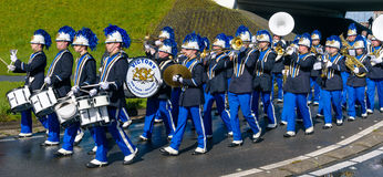 Brass band on flower parade Stock Image