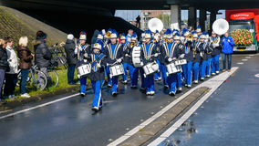 Brass band on flower parade Stock Photo