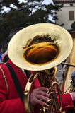Brass band marching. Trombone detail Stock Photography