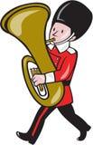 Brass Band Member Playing Tuba Cartoon Royalty Free Stock Photos
