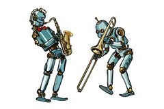 Brass band musicians robots, saxophone and trombone. Isolated on white background. Pop art retro vector illustration comic cartoon hand drawing vector illustration