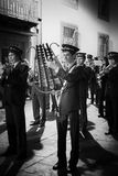 Brass band during night religious procession Royalty Free Stock Images