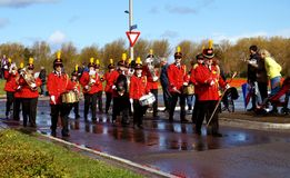 Brass band on parade of flowers Royalty Free Stock Photos