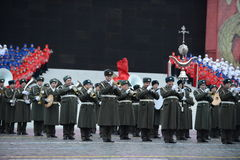 Brass band at the parade on November 7 at the red square. Moscow Royalty Free Stock Photo