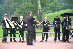 Brass band in park Stock Photos