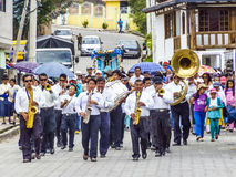 Brass Band performs a parade in Villabamba, Equador Royalty Free Stock Image
