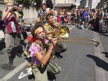 Brass band playing in the street. Stock Photo