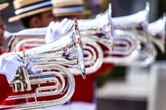 Brass Band in red uniform performing Royalty Free Stock Photo