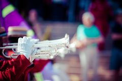 Brass Band in red uniform performing Royalty Free Stock Images