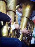 A brass band stands in the Park. A brass band of young musicians plays in the Park Stock Photos