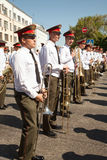 Brass band street performance stock photo