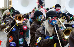 Brass band at the winter masquerade Fastnacht Stock Photo