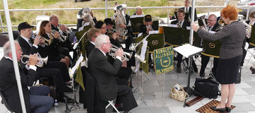Brass Band at the 200 year celebration of the Leeds Liverpool Canal at Burnley Lancashire Royalty Free Stock Images