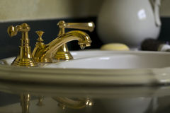 Brass Bathroom Faucet Royalty Free Stock Photos