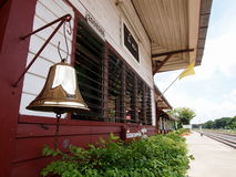 Brass bell at vintage railway station Stock Photos