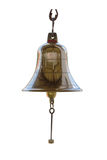 Brass bell on white isolate background with clipping path. Royalty Free Stock Photo