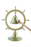 Brass bell with wooden stick Royalty Free Stock Images