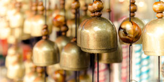 Brass Bells in the temple Stock Photos