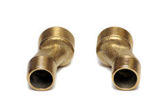 Brass bend for mounting the faucet Stock Photo