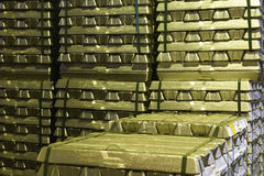 Brass blocks of raw material Royalty Free Stock Image