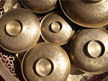 Brass blows old fashioned container Royalty Free Stock Images