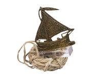 Brass boat and rope Royalty Free Stock Photo