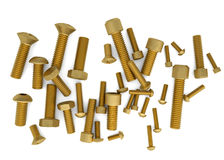 Brass bolts. Isolated render on a white background Royalty Free Stock Photos