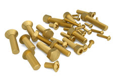 Brass bolts. Render on a white background Stock Photo