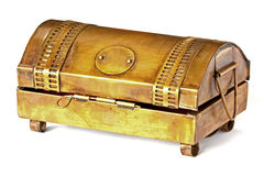 Brass box on white table Royalty Free Stock Image
